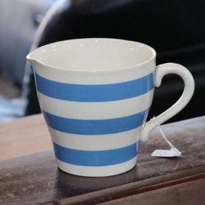 Blue & White Banded Milk Jug