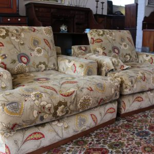 Large club chairs, brocaid velvet