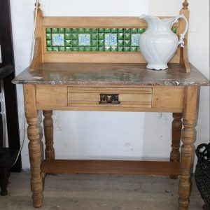 scrubbed pine washstand with stone top