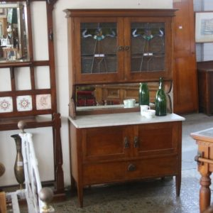 Marble topped Leadlight Kitchen Dresser