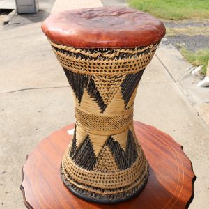Leather topped tribal stool