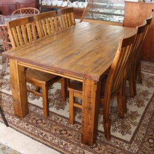 Chunky pine table and 6 chairs
