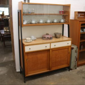 1970s kitchen dresser with etched glass