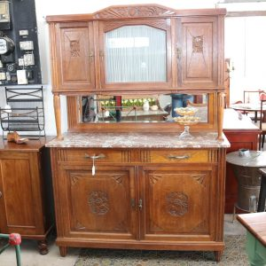 Continental Oak Marble Topped Display Sideboard