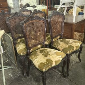 Set of 6 Rattan Back Chairs